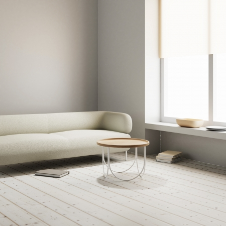 Sofa and table in window