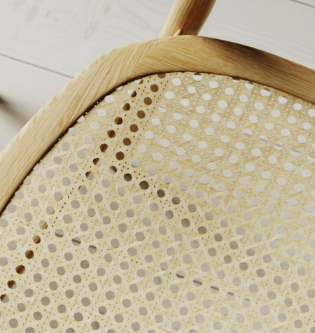 Curve chair with cane seat